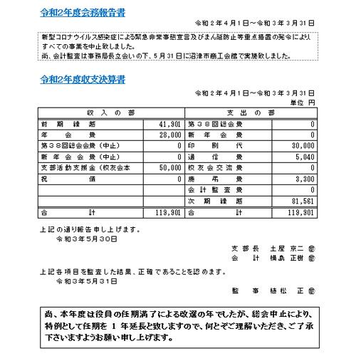 令和3年度静岡県東部支部 定時総会中止のお知らせ